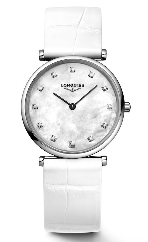 Swiss replica watches clearly indicate the time with black hands and white mother-of-pearl dials.